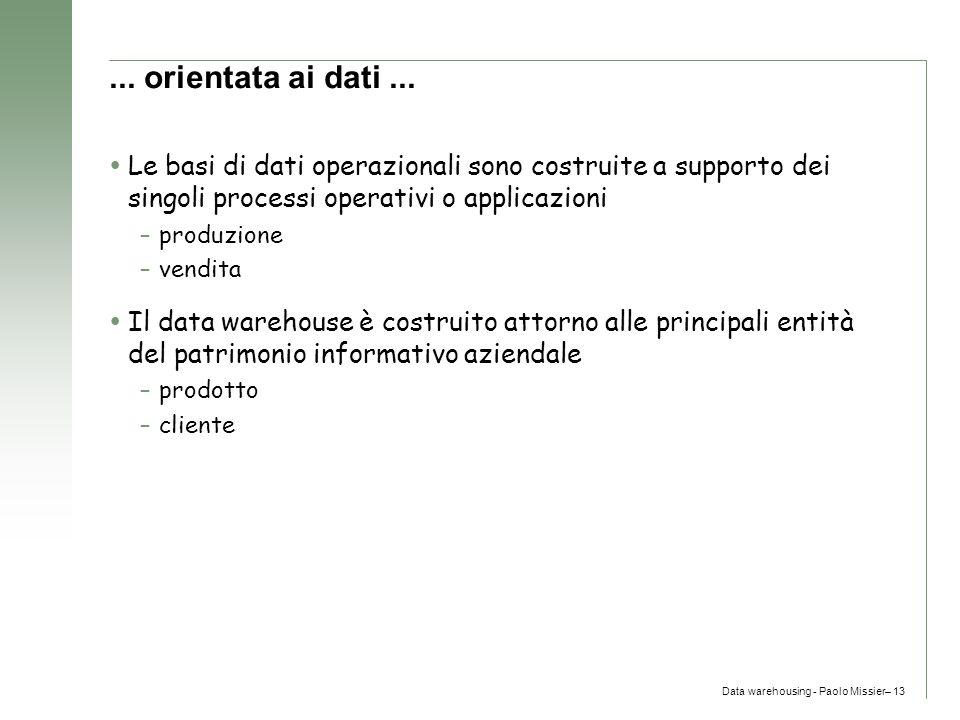 Data warehousing - Paolo Missier– 13... orientata ai dati...  Le basi di dati operazionali sono costruite a supporto dei singoli processi operativi o