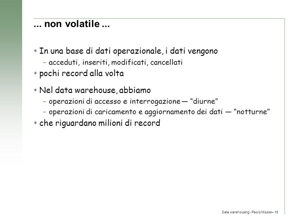 Data warehousing - Paolo Missier– 15... non volatile...  In una base di dati operazionale, i dati vengono –acceduti, inseriti, modificati, cancellati