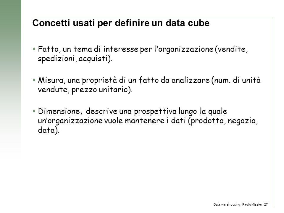 Data warehousing - Paolo Missier– 27 Concetti usati per definire un data cube  Fatto, un tema di interesse per l'organizzazione (vendite, spedizioni,