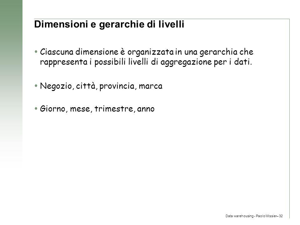 Data warehousing - Paolo Missier– 32 Dimensioni e gerarchie di livelli  Ciascuna dimensione è organizzata in una gerarchia che rappresenta i possibil