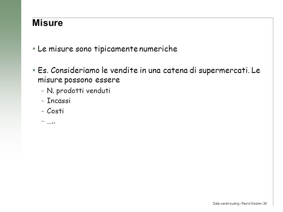 Data warehousing - Paolo Missier– 36 Misure  Le misure sono tipicamente numeriche  Es. Consideriamo le vendite in una catena di supermercati. Le mis