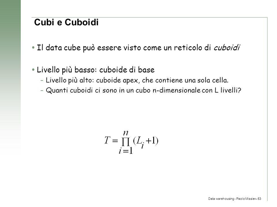 Data warehousing - Paolo Missier– 53 Cubi e Cuboidi  Il data cube può essere visto come un reticolo di cuboidi  Livello più basso: cuboide di base –
