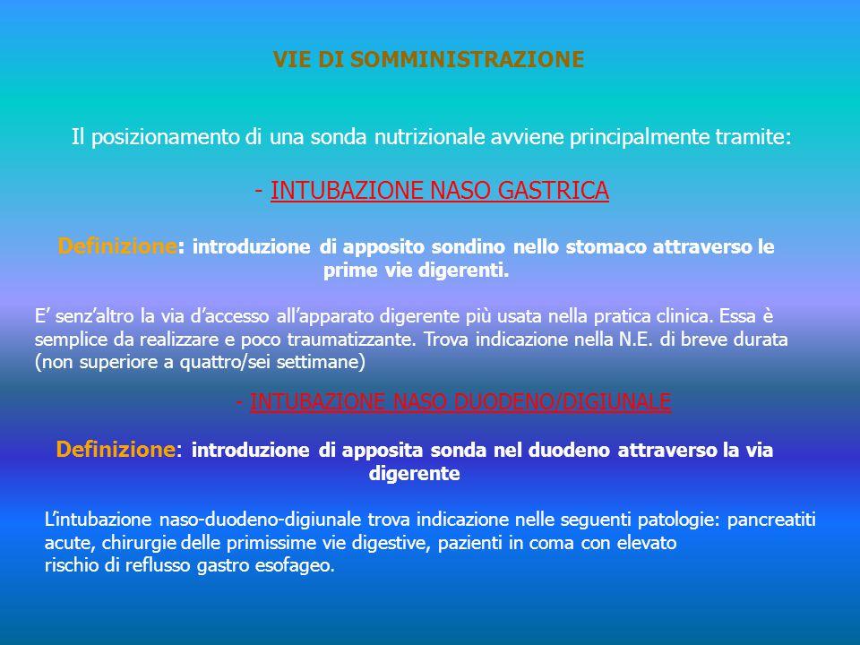 VIE DI SOMMINISTRAZIONE Il posizionamento di una sonda nutrizionale avviene principalmente tramite: - INTUBAZIONE NASO GASTRICA Definizione: introduzi
