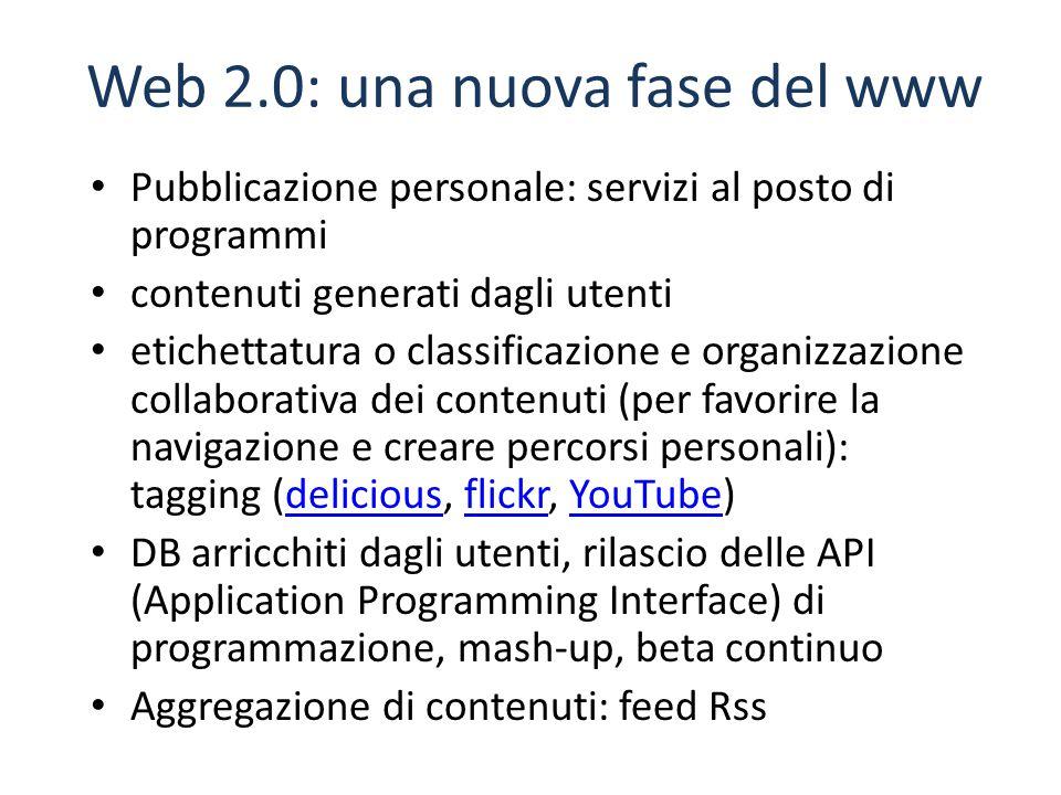 Pubblicazione personale: servizi al posto di programmi contenuti generati dagli utenti etichettatura o classificazione e organizzazione collaborativa