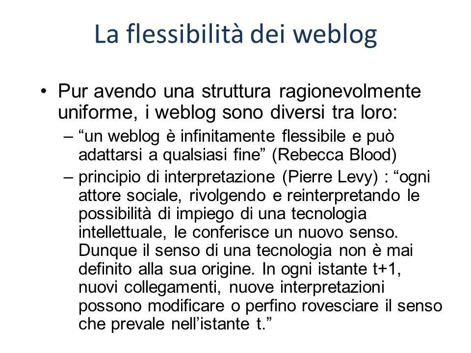 """La flessibilità dei weblog Pur avendo una struttura ragionevolmente uniforme, i weblog sono diversi tra loro: –""""un weblog è infinitamente flessibile e"""