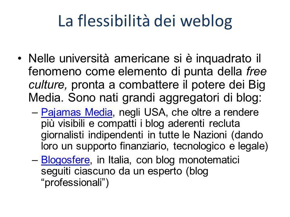 La flessibilità dei weblog Nelle università americane si è inquadrato il fenomeno come elemento di punta della free culture, pronta a combattere il potere dei Big Media.