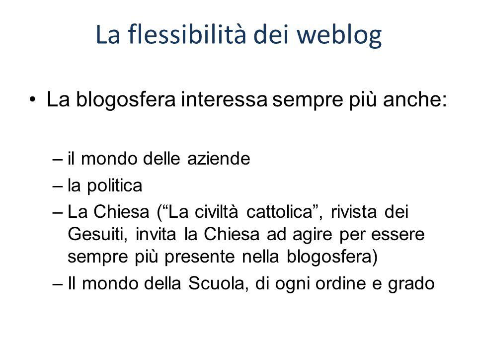 """La flessibilità dei weblog La blogosfera interessa sempre più anche: –il mondo delle aziende –la politica –La Chiesa (""""La civiltà cattolica"""", rivista"""