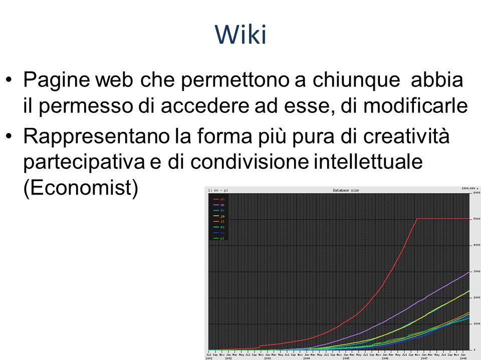 Wiki Pagine web che permettono a chiunque abbia il permesso di accedere ad esse, di modificarle Rappresentano la forma più pura di creatività partecipativa e di condivisione intellettuale (Economist)