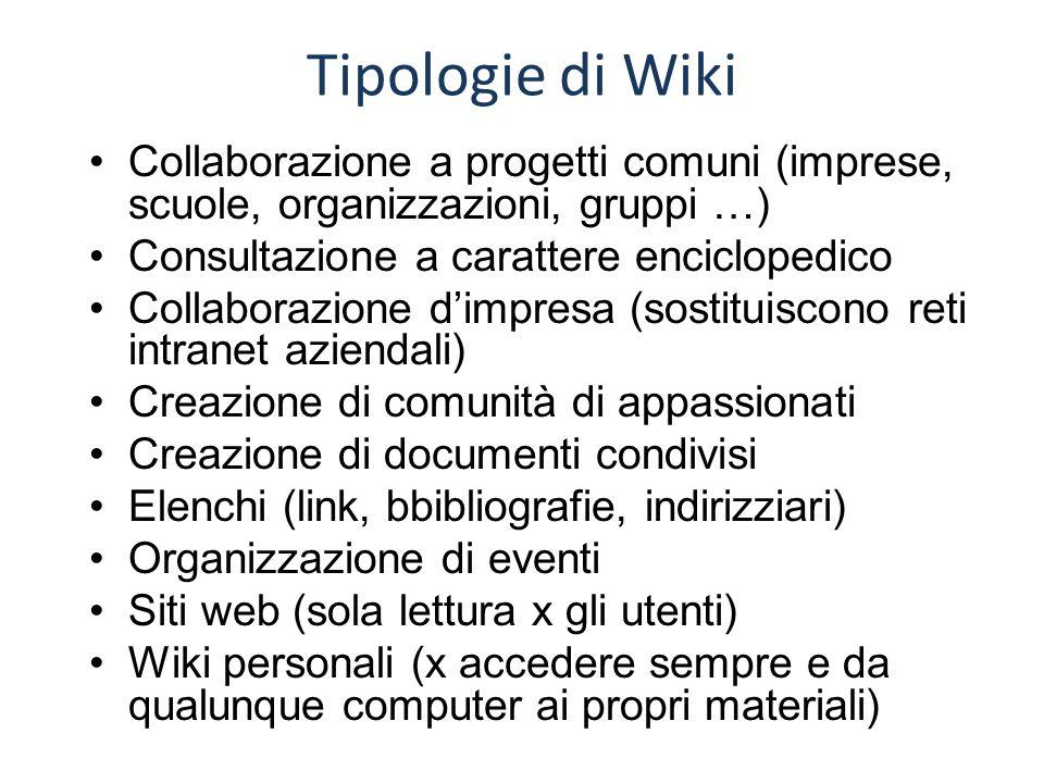 Tipologie di Wiki Collaborazione a progetti comuni (imprese, scuole, organizzazioni, gruppi …) Consultazione a carattere enciclopedico Collaborazione