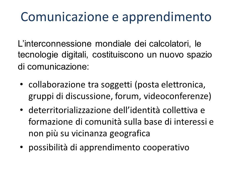 Comunicazione e apprendimento collaborazione tra soggetti (posta elettronica, gruppi di discussione, forum, videoconferenze) deterritorializzazione de