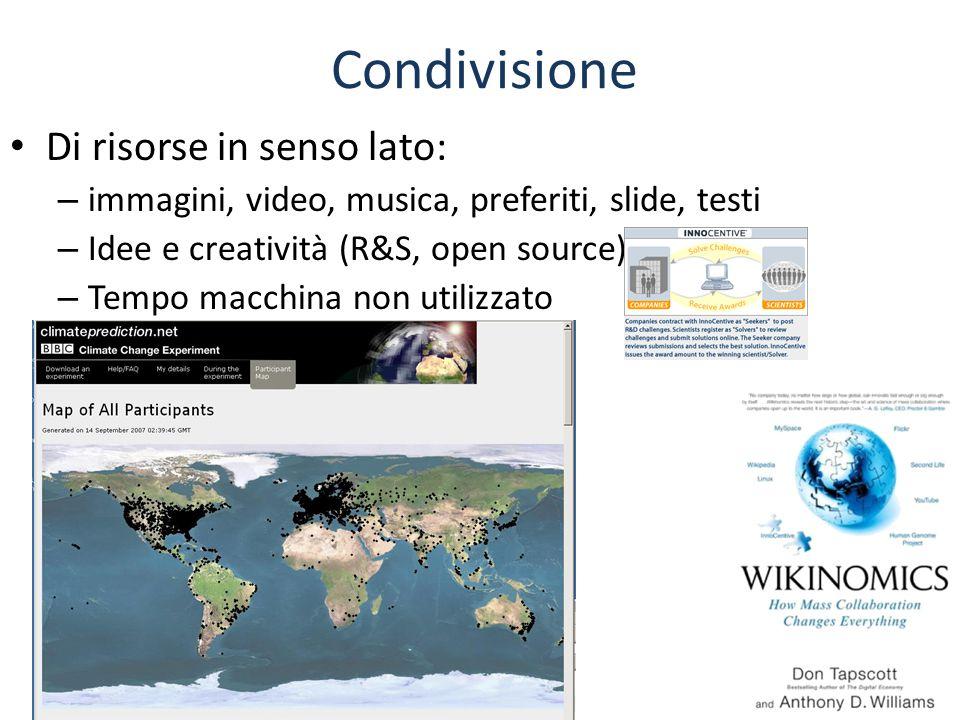 Condivisione Di risorse in senso lato: – immagini, video, musica, preferiti, slide, testi – Idee e creatività (R&S, open source) – Tempo macchina non utilizzato