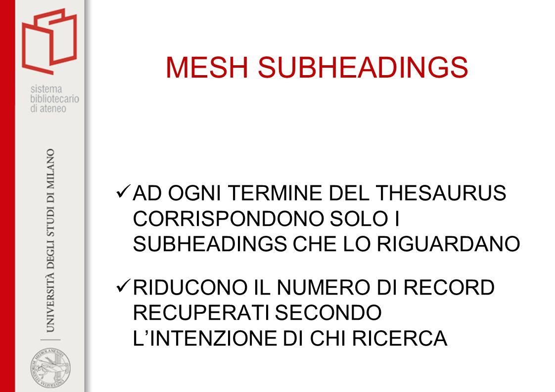 MESH SUBHEADINGS AD OGNI TERMINE DEL THESAURUS CORRISPONDONO SOLO I SUBHEADINGS CHE LO RIGUARDANO RIDUCONO IL NUMERO DI RECORD RECUPERATI SECONDO L'IN