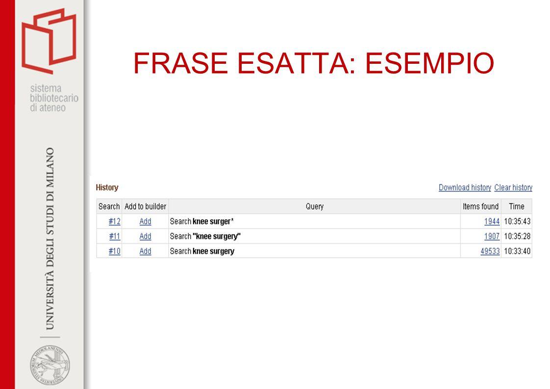FRASE ESATTA: ESEMPIO