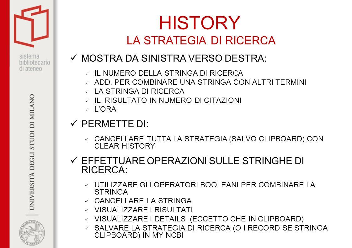 HISTORY LA STRATEGIA DI RICERCA MOSTRA DA SINISTRA VERSO DESTRA: IL NUMERO DELLA STRINGA DI RICERCA ADD: PER COMBINARE UNA STRINGA CON ALTRI TERMINI L