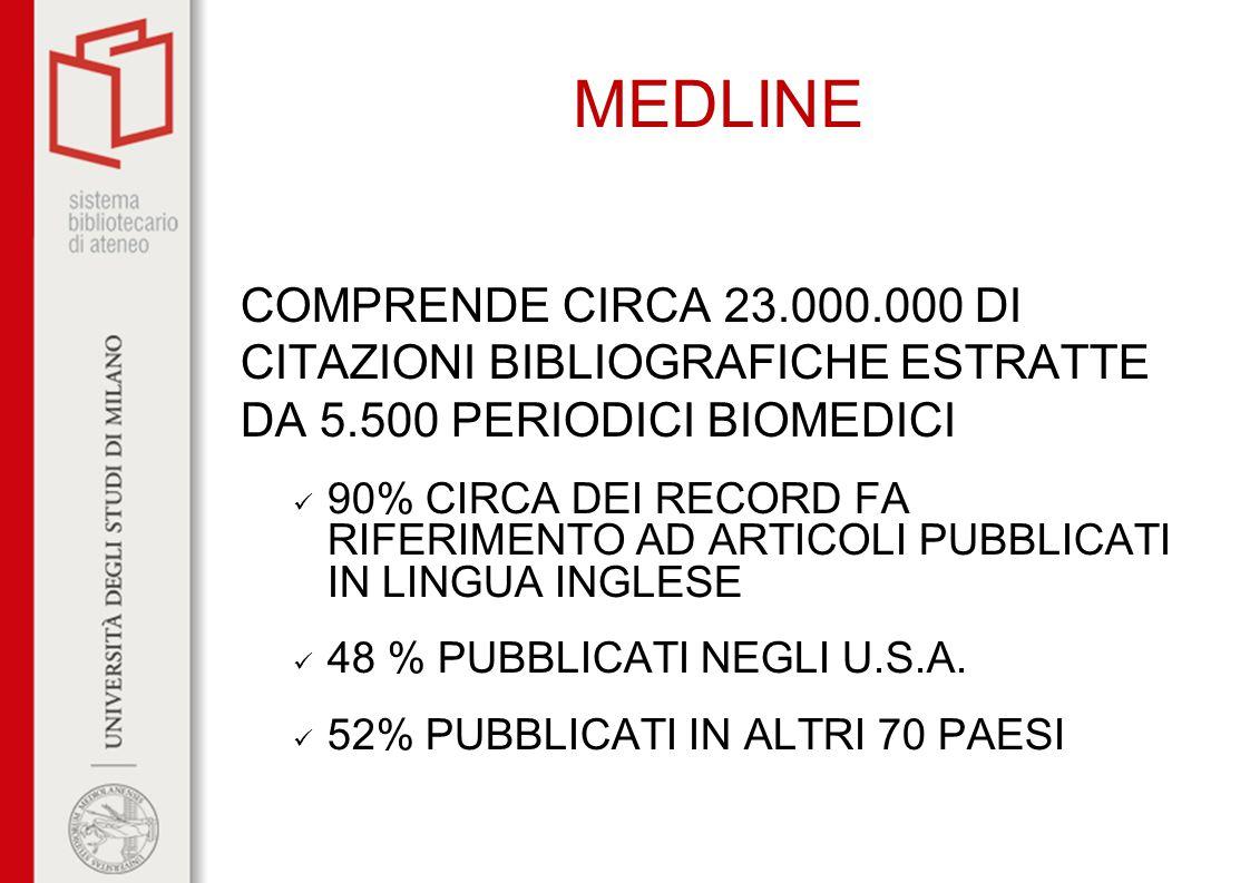 MEDLINE COMPRENDE CIRCA 23.000.000 DI CITAZIONI BIBLIOGRAFICHE ESTRATTE DA 5.500 PERIODICI BIOMEDICI 90% CIRCA DEI RECORD FA RIFERIMENTO AD ARTICOLI P
