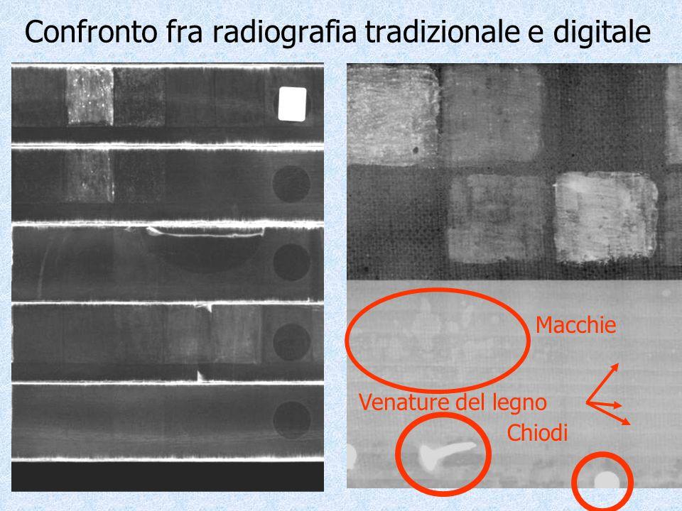 Confronto fra radiografia tradizionale e digitale Chiodi Macchie Venature del legno