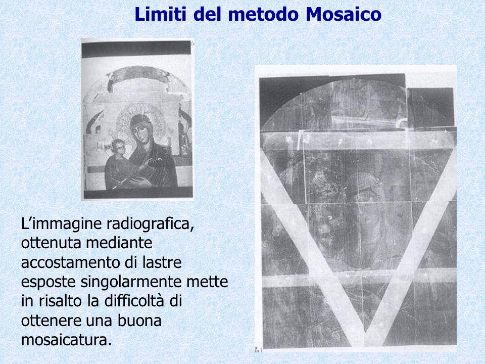 L'immagine radiografica, ottenuta mediante accostamento di lastre esposte singolarmente mette in risalto la difficoltà di ottenere una buona mosaicatu