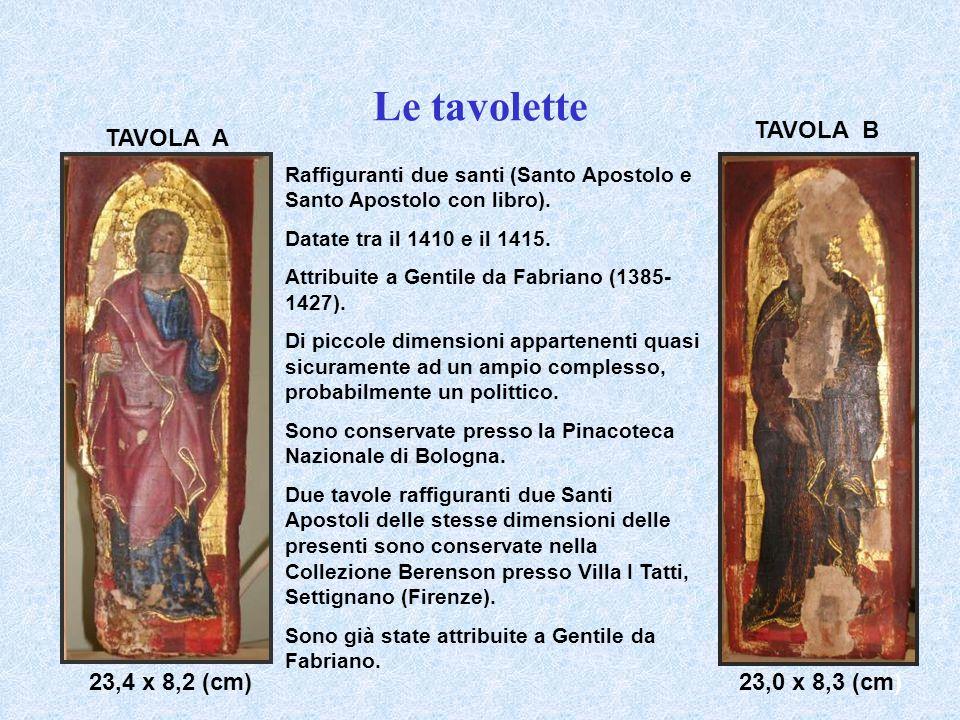 Le tavolette Raffiguranti due santi (Santo Apostolo e Santo Apostolo con libro). Datate tra il 1410 e il 1415. Attribuite a Gentile da Fabriano (1385-
