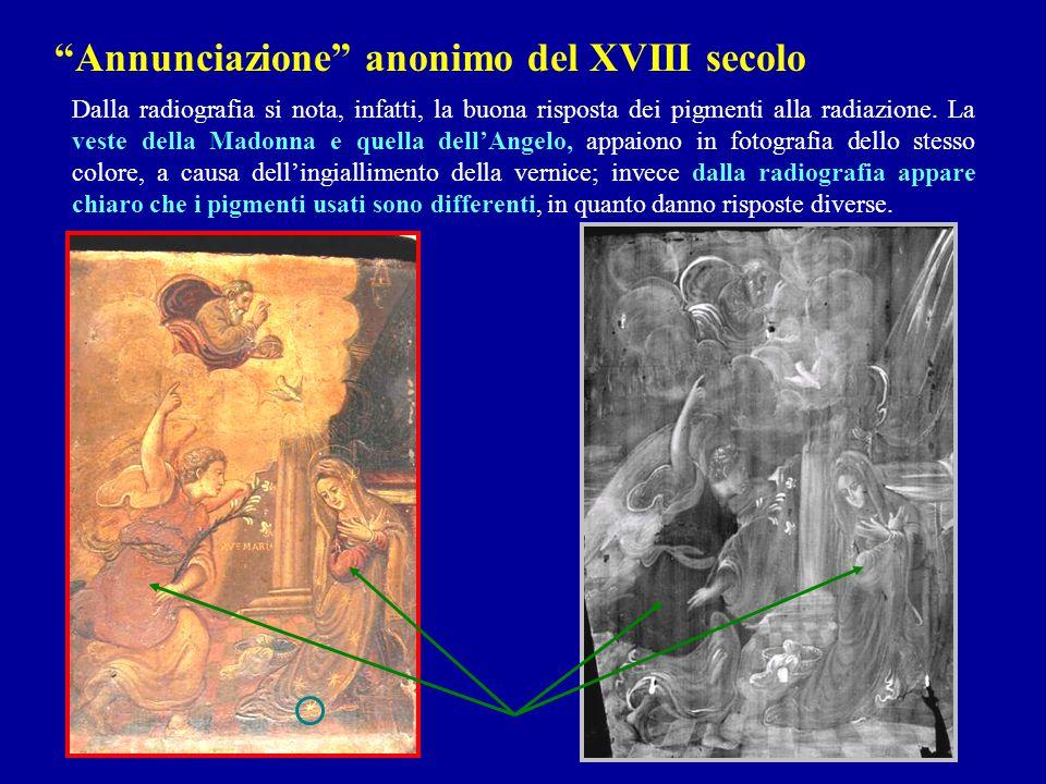 Dalla radiografia si nota, infatti, la buona risposta dei pigmenti alla radiazione. La veste della Madonna e quella dell'Angelo, appaiono in fotografi