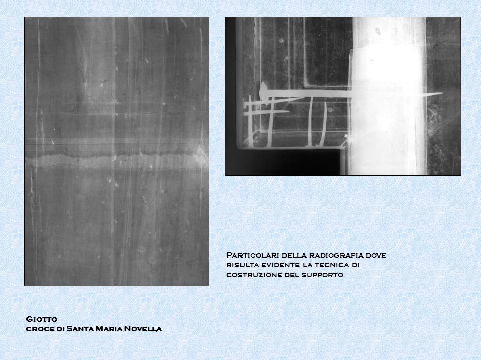 Giotto croce di Santa Maria Novella Particolari della radiografia dove risulta evidente la tecnica di costruzione del supporto