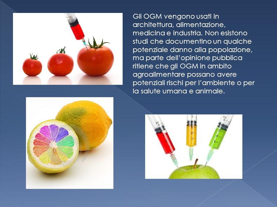 Gli OGM vengono usati in architettura, alimentazione, medicina e industria. Non esistono studi che documentino un qualche potenziale danno alla popola