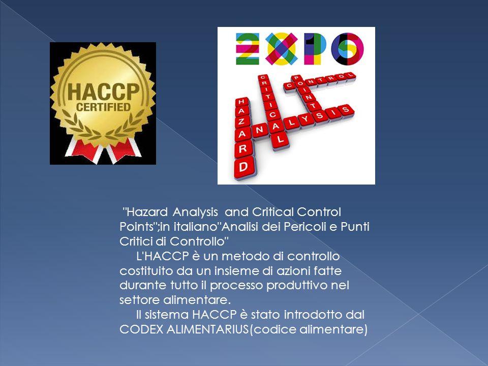 Hazard Analysis and Critical Control Points ;in italiano Analisi dei Pericoli e Punti Critici di Controllo L HACCP è un metodo di controllo costituito da un insieme di azioni fatte durante tutto il processo produttivo nel settore alimentare.