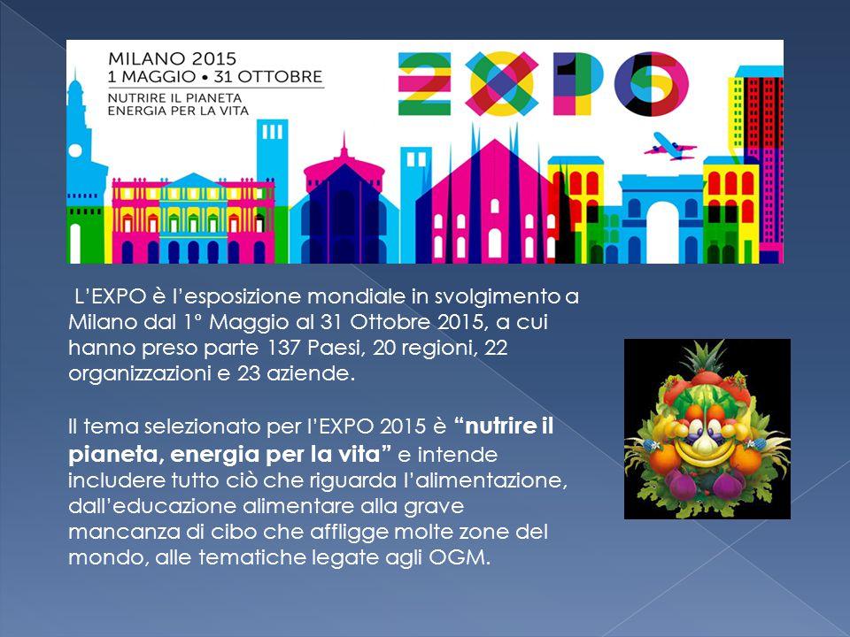 L'EXPO è l'esposizione mondiale in svolgimento a Milano dal 1° Maggio al 31 Ottobre 2015, a cui hanno preso parte 137 Paesi, 20 regioni, 22 organizzaz