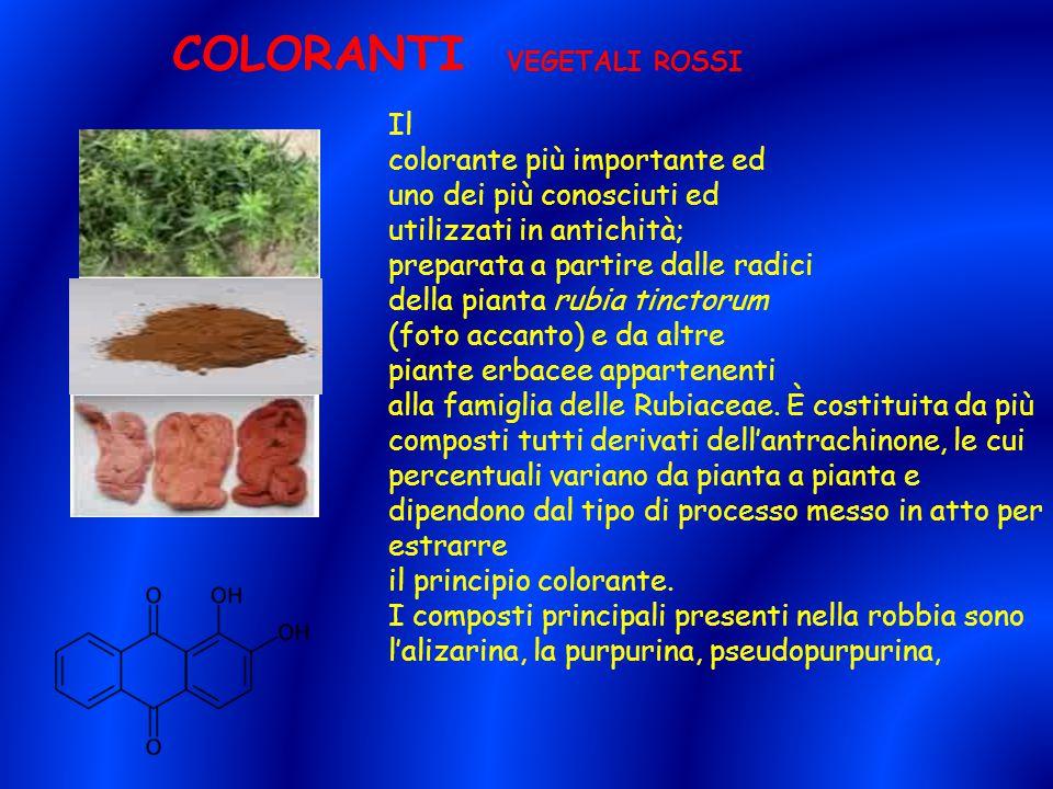 COLORANTI VEGETALI ROSSI Il colorante più importante ed uno dei più conosciuti ed utilizzati in antichità; preparata a partire dalle radici della pian