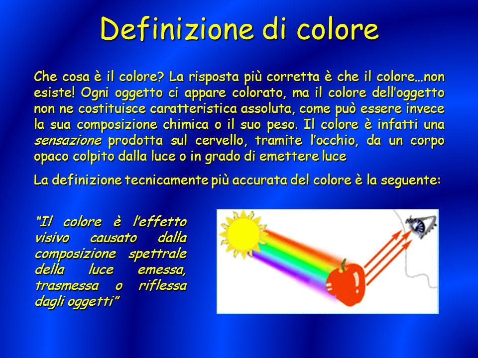 Definizione di colore Che cosa è il colore? La risposta più corretta è che il colore…non esiste! Ogni oggetto ci appare colorato, ma il colore dell'og