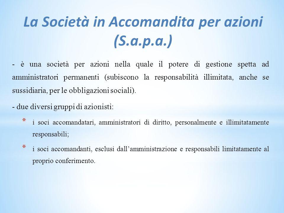 La Società in Accomandita per azioni (S.a.p.a.) - è una società per azioni nella quale il potere di gestione spetta ad amministratori permanenti (subiscono la responsabilità illimitata, anche se sussidiaria, per le obbligazioni sociali).