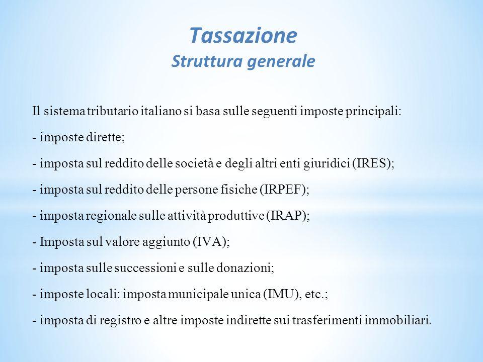Tassazione Struttura generale Il sistema tributario italiano si basa sulle seguenti imposte principali: - imposte dirette; - imposta sul reddito delle società e degli altri enti giuridici (IRES); - imposta sul reddito delle persone fisiche (IRPEF); - imposta regionale sulle attività produttive (IRAP); - Imposta sul valore aggiunto (IVA); - imposta sulle successioni e sulle donazioni; - imposte locali: imposta municipale unica (IMU), etc.; - imposta di registro e altre imposte indirette sui trasferimenti immobiliari.