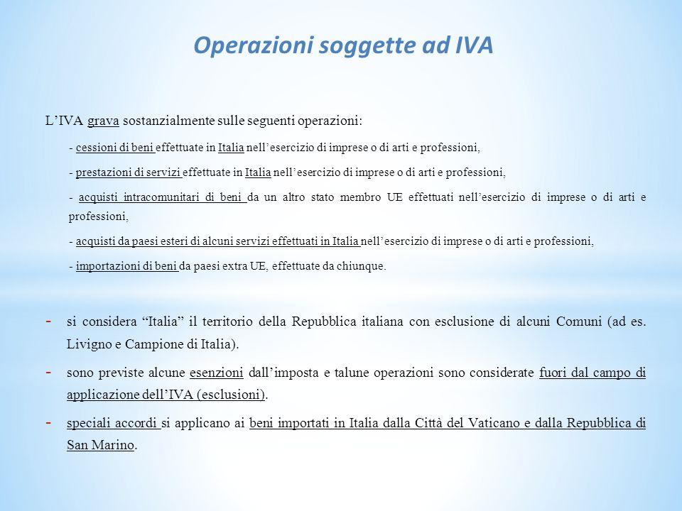 Operazioni soggette ad IVA L'IVA grava sostanzialmente sulle seguenti operazioni: - cessioni di beni effettuate in Italia nell'esercizio di imprese o di arti e professioni, - prestazioni di servizi effettuate in Italia nell'esercizio di imprese o di arti e professioni, - acquisti intracomunitari di beni da un altro stato membro UE effettuati nell'esercizio di imprese o di arti e professioni, - acquisti da paesi esteri di alcuni servizi effettuati in Italia nell'esercizio di imprese o di arti e professioni, - importazioni di beni da paesi extra UE, effettuate da chiunque.