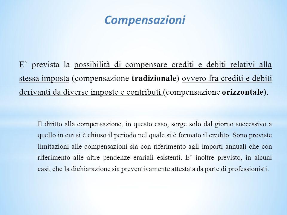 Compensazioni E' prevista la possibilità di compensare crediti e debiti relativi alla stessa imposta (compensazione tradizionale) ovvero fra crediti e debiti derivanti da diverse imposte e contributi (compensazione orizzontale).