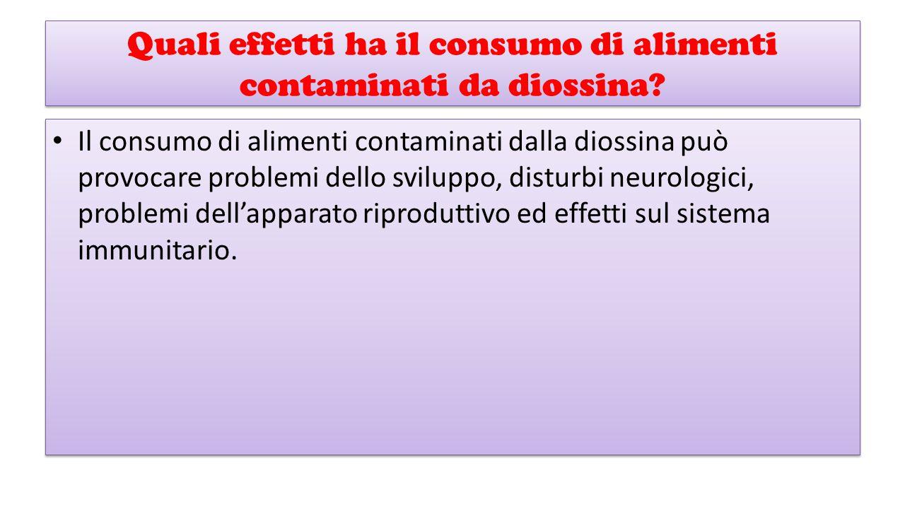 Quali effetti ha il consumo di alimenti contaminati da diossina? Il consumo di alimenti contaminati dalla diossina può provocare problemi dello svilup