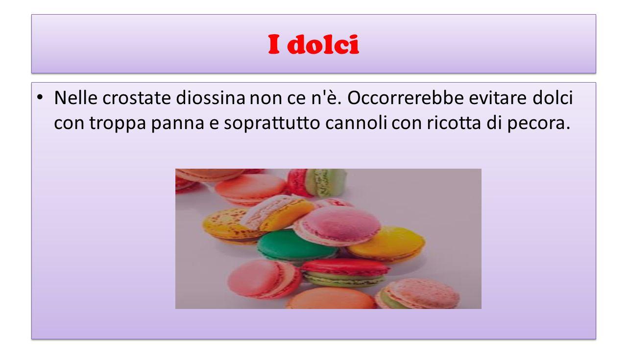 I dolci Nelle crostate diossina non ce n'è. Occorrerebbe evitare dolci con troppa panna e soprattutto cannoli con ricotta di pecora.