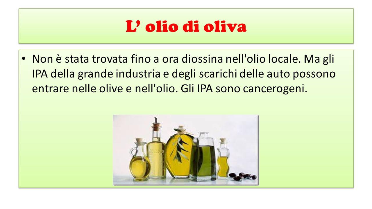 L' olio di oliva Non è stata trovata fino a ora diossina nell'olio locale. Ma gli IPA della grande industria e degli scarichi delle auto possono entra
