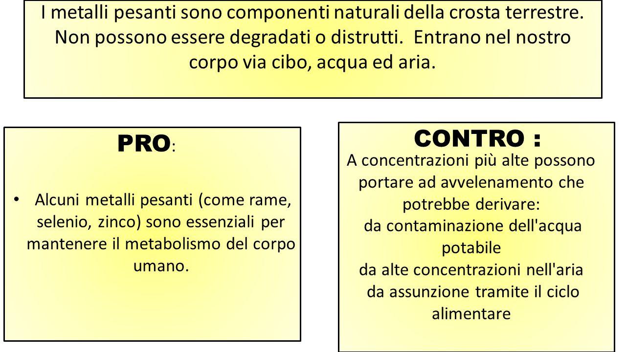 I metalli pesanti sono componenti naturali della crosta terrestre.