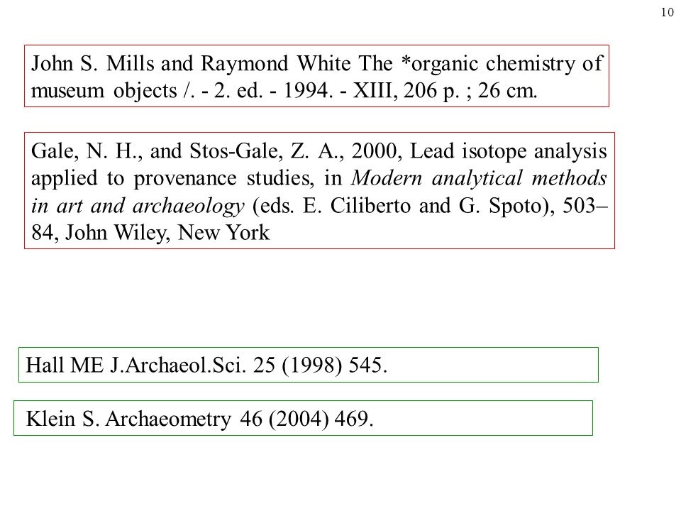10 John S. Mills and Raymond White The *organic chemistry of museum objects /.