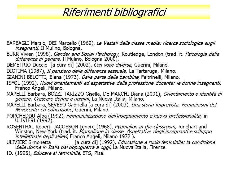 Riferimenti bibliografici BARBAGLI Marzio, DEI Marcello (1969), Le Vestali della classe media: ricerca sociologica sugli insegnanti, Il Mulino, Bologn