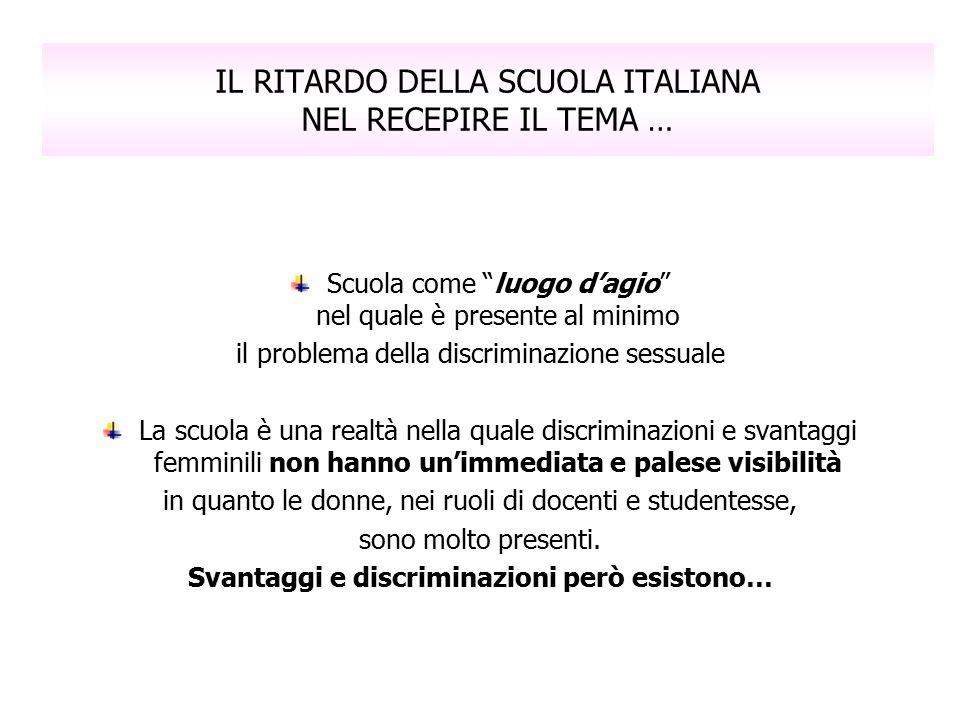 """IL RITARDO DELLA SCUOLA ITALIANA NEL RECEPIRE IL TEMA … Scuola come """"luogo d'agio"""" nel quale è presente al minimo il problema della discriminazione se"""