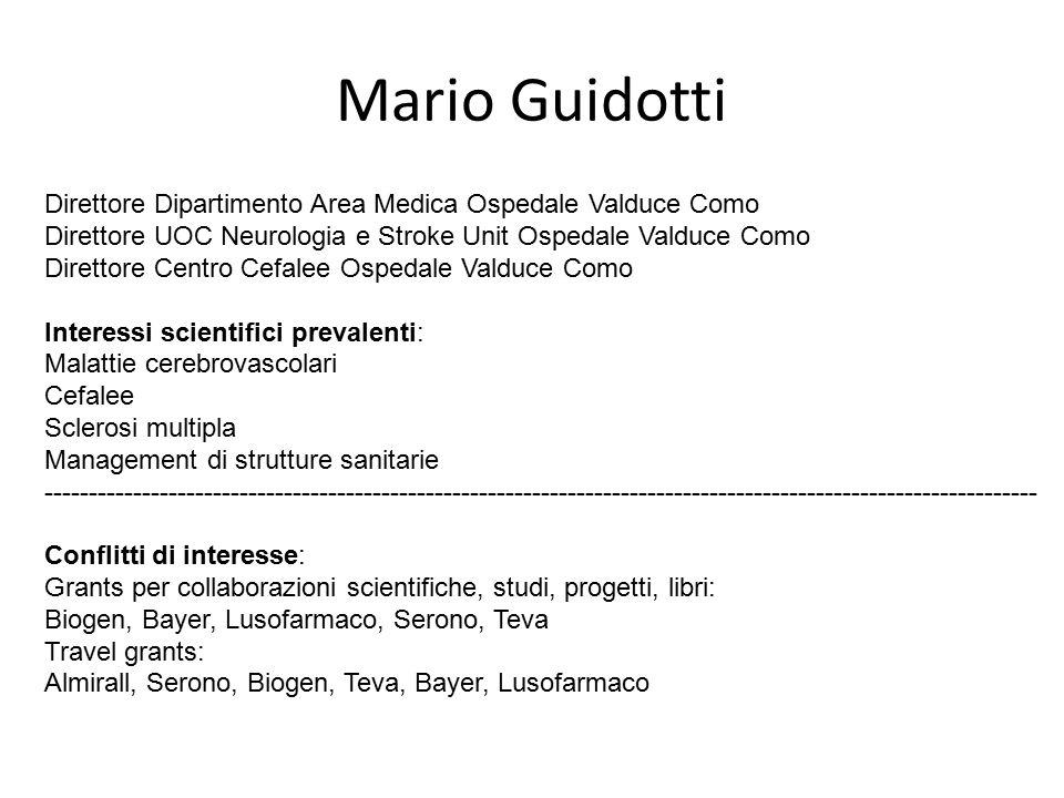 Mario Guidotti Direttore Dipartimento Area Medica Ospedale Valduce Como Direttore UOC Neurologia e Stroke Unit Ospedale Valduce Como Direttore Centro