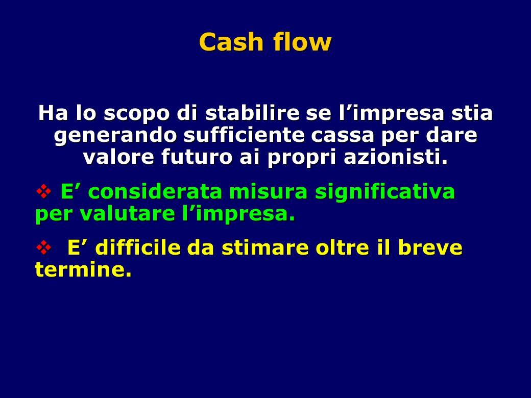 Cash flow Ha lo scopo di stabilire se l'impresa stia generando sufficiente cassa per dare valore futuro ai propri azionisti.