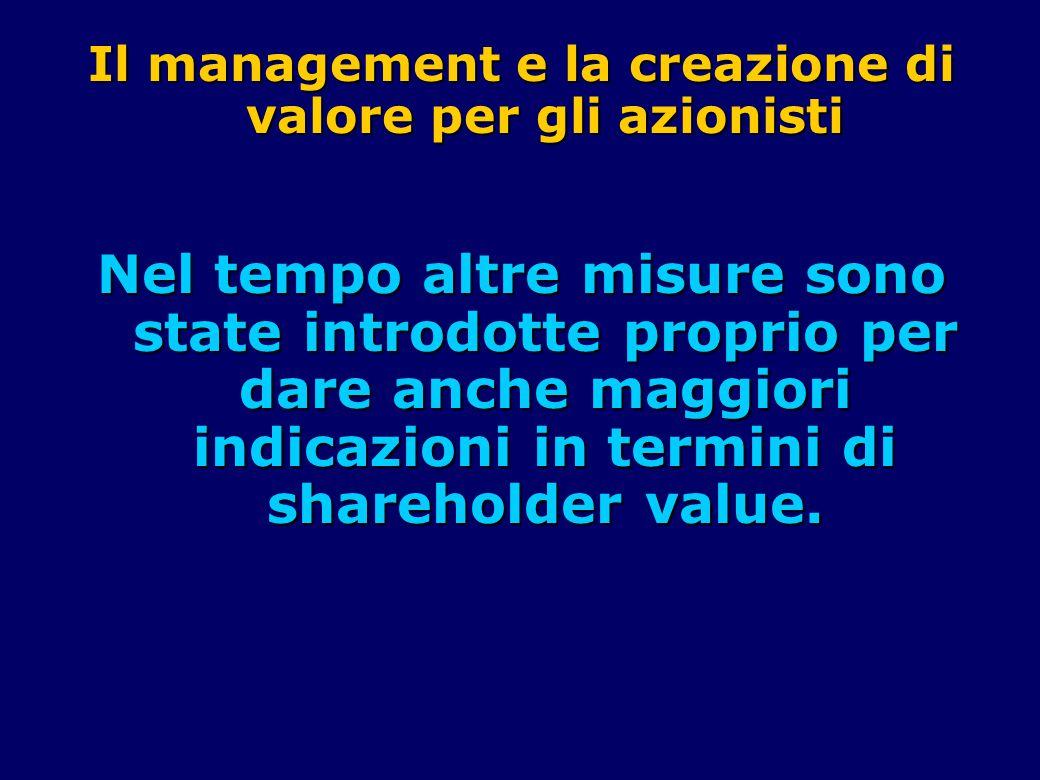 Il management e la creazione di valore per gli azionisti Nel tempo altre misure sono state introdotte proprio per dare anche maggiori indicazioni in termini di shareholder value.