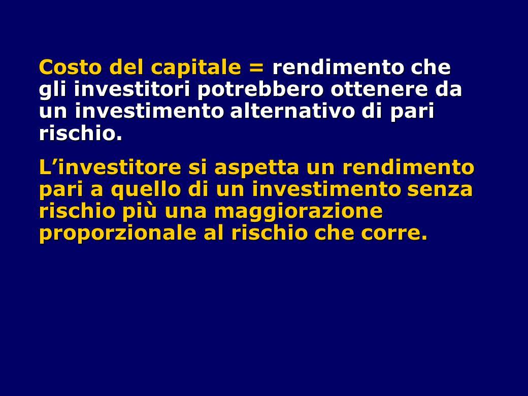 Costo del capitale = rendimento che gli investitori potrebbero ottenere da un investimento alternativo di pari rischio.