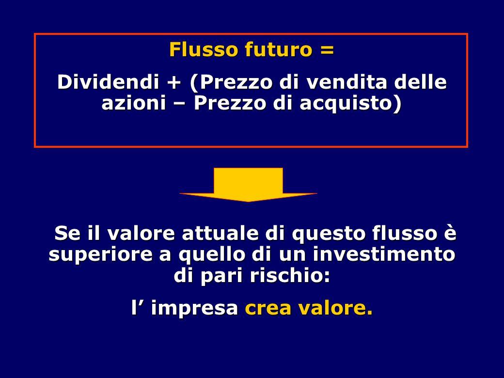 Flusso futuro = Dividendi + (Prezzo di vendita delle azioni – Prezzo di acquisto) Se il valore attuale di questo flusso è superiore a quello di un investimento di pari rischio: Se il valore attuale di questo flusso è superiore a quello di un investimento di pari rischio: l' impresa crea valore.