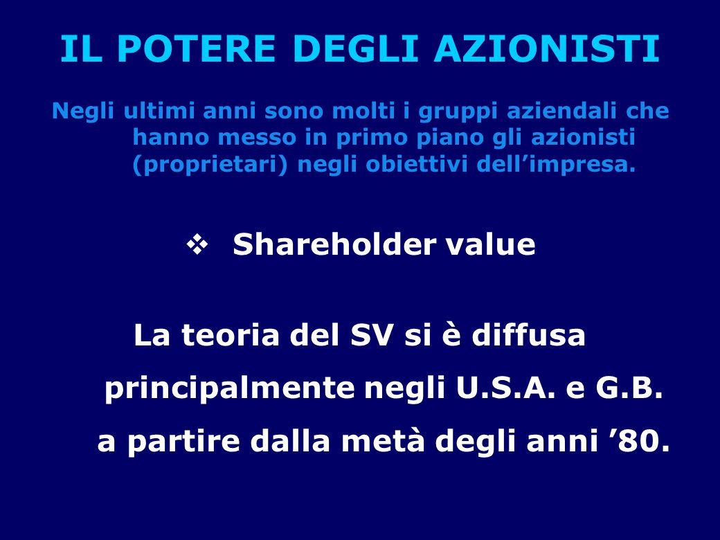 IL POTERE DEGLI AZIONISTI Negli ultimi anni sono molti i gruppi aziendali che hanno messo in primo piano gli azionisti (proprietari) negli obiettivi dell'impresa.