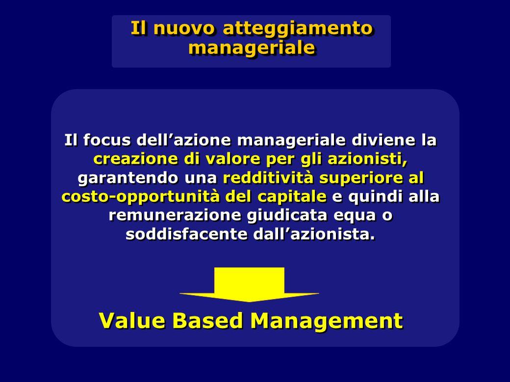 Il focus dell'azione manageriale diviene la creazione di valore per gli azionisti, garantendo una redditività superiore al costo-opportunità del capitale e quindi alla remunerazione giudicata equa o soddisfacente dall'azionista.