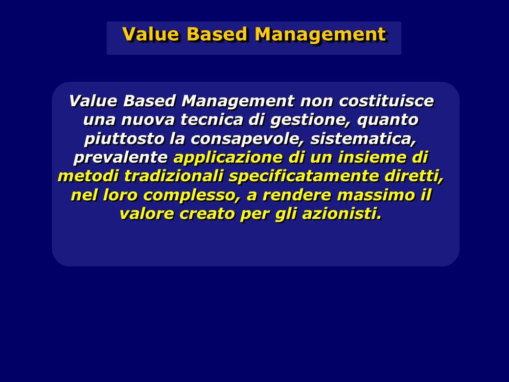 Value Based Management non costituisce una nuova tecnica di gestione, quanto piuttosto la consapevole, sistematica, prevalente applicazione di un insieme di metodi tradizionali specificatamente diretti, nel loro complesso, a rendere massimo il valore creato per gli azionisti.