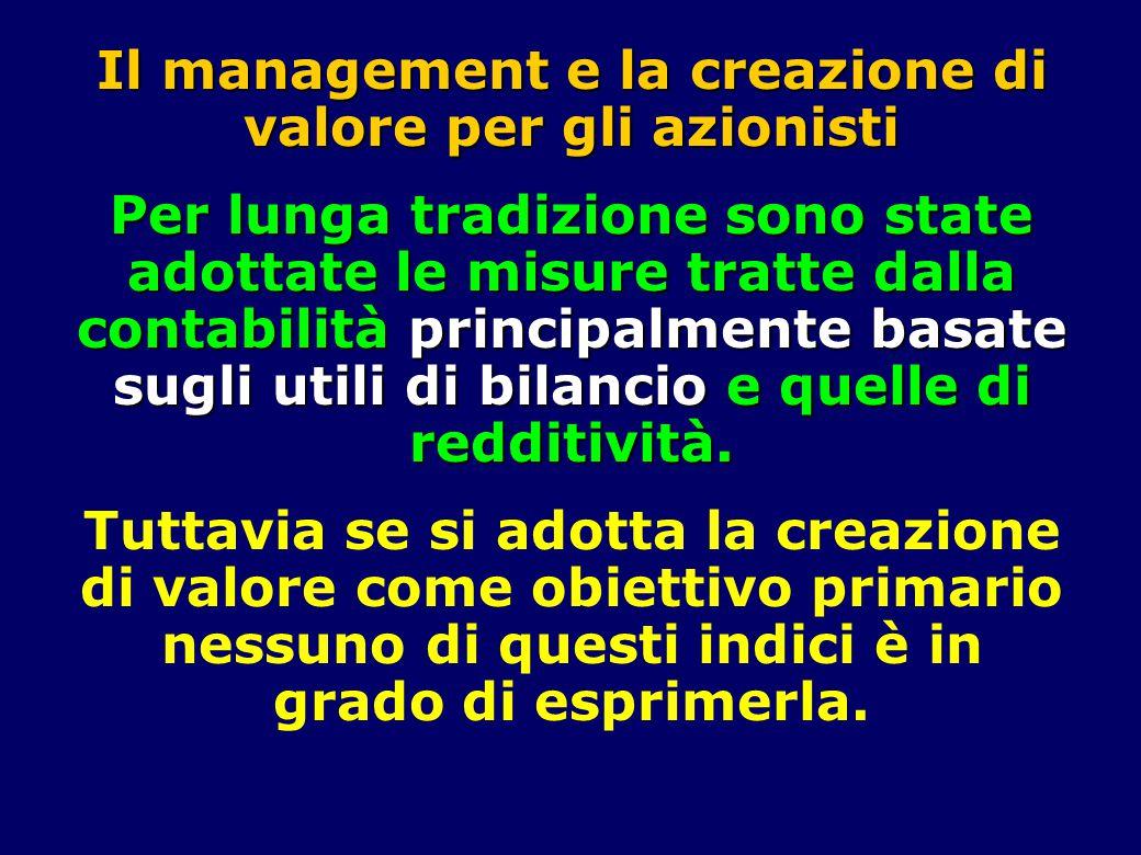 Il management e la creazione di valore per gli azionisti Per lunga tradizione sono state adottate le misure tratte dalla contabilità principalmente basate sugli utili di bilancio e quelle di redditività.