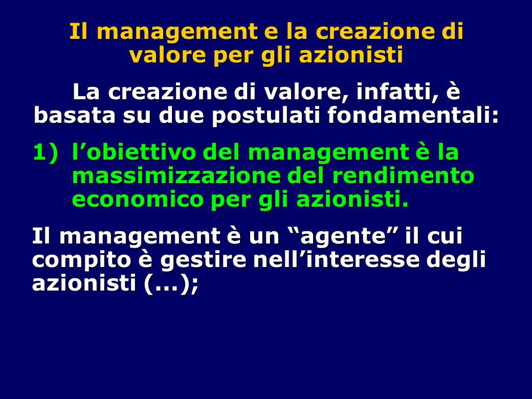 Il management e la creazione di valore per gli azionisti La creazione di valore, infatti, è basata su due postulati fondamentali: 1)l'obiettivo del management è la massimizzazione del rendimento economico per gli azionisti.